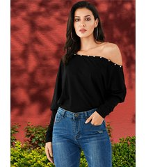 black one shoulder pearl long sleeves knit top
