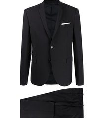 neil barrett travel fine bi-stretch gabardine slim suit - blue
