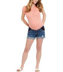 motherhood maternity side-panel ripped denim maternity shorts