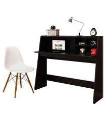 mesa para computador escrivaninha idealle preto e cadeira charles branca - mpozenato