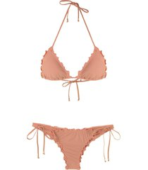 amir slama ruffled triangle bikini set - neutrals