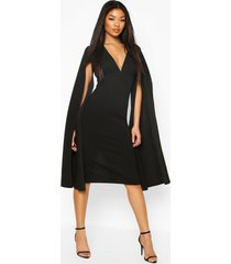 cape sleeve open back midi dress, black