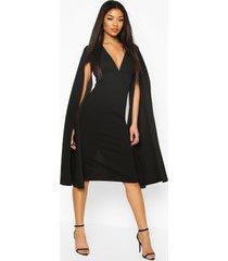 cape sleeve open back midi dress, black