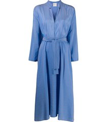 forte forte striped shirt midi dress - blue