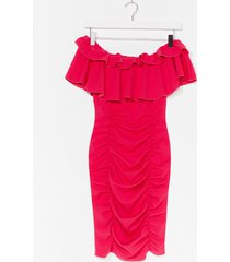 womens are you frill down off-the-shoulder mini dress - hot pink