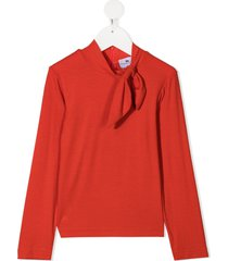 raspberry plum oma tie-front top - orange