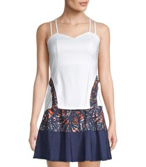 eleven by venus williams women's sweetheart corset tank top - white - size xl