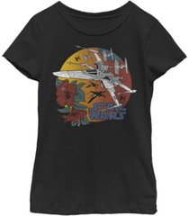 star wars big girls floral tie fighter sunset short sleeve t-shirt