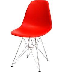cadeira dkr polipropileno e base de metal pian – vermelha