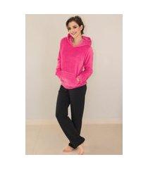 pijama feminino manga longa em moletinho rosa com preto