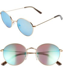women's madewell fest 50mm aviator sunglasses - gold/ blue
