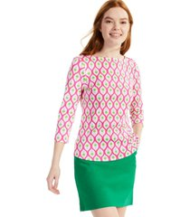 charter club cotton pineapple-print top, created for macy's