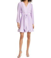 women's milly liv pleated long sleeve fit & flare dress, size 6 - purple