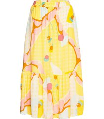 nucasey skirt knälång kjol gul nümph