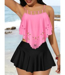 ladder cutout high waisted skirted tankini swimwear