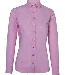 camisa dudalina manga longa tricoline melange stretch feminina (rosa claro, 50)