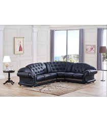 esf apolo traditional black genuine top grain italian leather sectional rhc