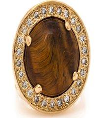 anel kumbayá redondo semijoia banho de ouro 18k pedra natural olho de tigre e cravaçáo de zircônias - tricae