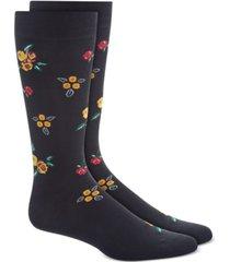 bar iii men's black rose floral socks, created for macy's