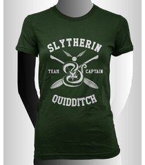 captain - new slytherin quidditch team captain white ink women tee forest green