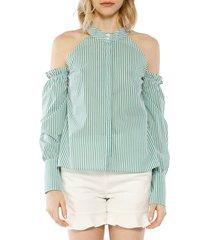 walter baker women's tamera cotton blouse - green - size m