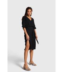 alix 203380567 ladies woven crinkle tunic dress zwart