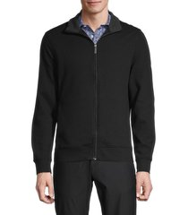 perry ellis men's full-zip cotton-blend jacket - black - size l