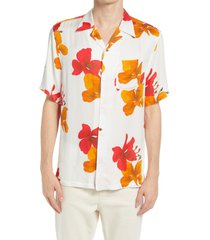 allsaints kew floral short sleeve button-up camp shirt, size medium in traditional white at nordstrom