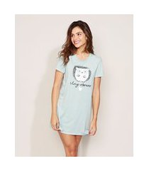 """camisola feminina porco-espinho stay clever"""" manga curta azul claro"""""""