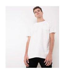 camiseta alongada com bolso   blue steel   branco   p