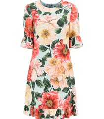 camellia print short cady dress