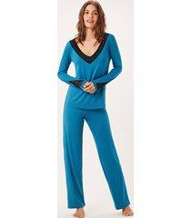 pijama joge longo azul