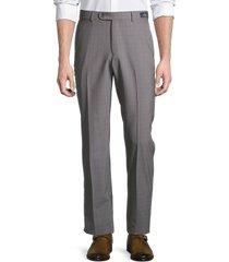 saks fifth avenue men's standard-fit micro check wool pants - light grey - size 38