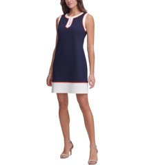 tommy hilfiger contrast-trim split-neck dress
