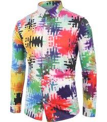 novelty colorful printed long sleeves shirt