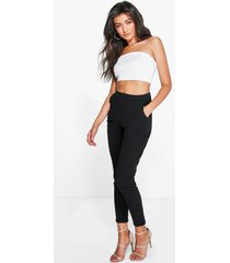 basic crêpe super stretch skinny broek, zwart
