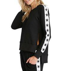 tuxedo stars side slit sweatshirt