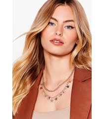 womens star-t the day right layered diamante necklace - gold