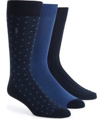 men's polo ralph lauren assorted 3-pack supersoft dress socks, size one size - blue