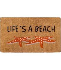 "fab habitat doormat life's a beach starfish 18"" x 30"", extra thick handwoven, durable bedding"