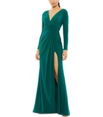 mac duggal high-slit evening gown