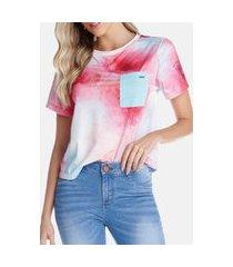 t-shirt riccieri com bolso aquarela