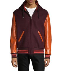 leather sleeve wool bomber jacket