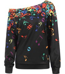 plus size skew neck music nots print sweatshirt
