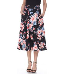 white mark floral flared midi skirt