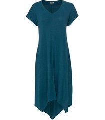 jurk van bourette-zijde met v-hals, petrol 44