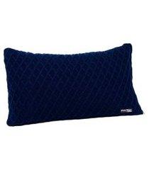 capa de almofada tricot 60x40 c/zíper sofa cod 354.8 azul marinho