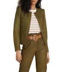 women's veronica beard shanti leather jacket, size 14 - green