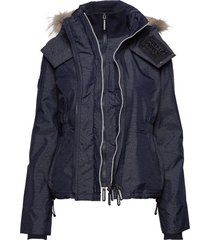 hooded fur winter windattacker gevoerd jack blauw superdry