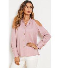 blusa de cuello clásico con hombros descubiertos y botones delanteros yoins